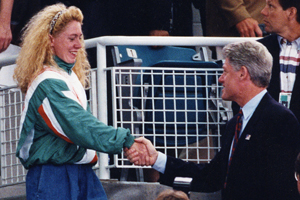clinton and swimmer
